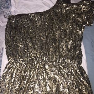1 Shoulder,  Gold Sequin Dress